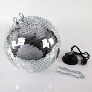 Disco Ball Set GLIX FEVER with Rotary Motor and Chain, Ø 40cm, silver
